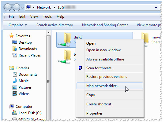 Business Storage NAS - Mapping a Share in Windows Using