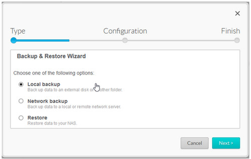 Local backup configuration menu