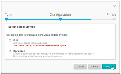 Select a backup type