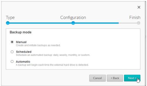 Backup mode menu
