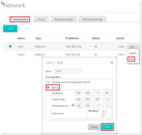 Network connections tab