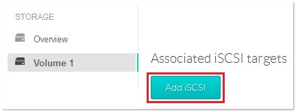 Associated iSCSI targets menu