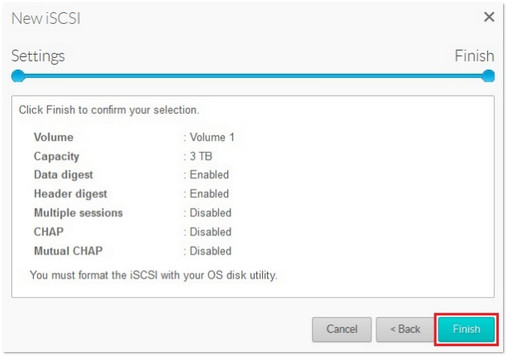 iSCSI settings confirmation screen