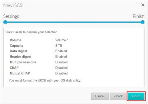 iSCSI settings confirmation screen