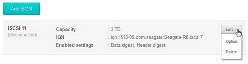 iSCSI target edit menu
