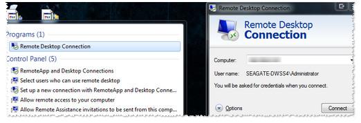 Remote desktop connection screen