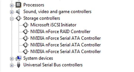 The SATA or Serial ATA controller name should be listed. For NVIDIA